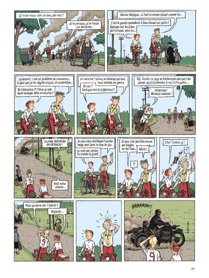 L'avancée de la Wehrmacht. Une planche extraite de « Spirou ou l'espoir malgré tout ».