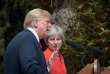 """US President Donald Trump (L) gestures as Britain's Prime Minister Theresa May (R) listens during a press conference following their meeting at Chequers, the prime minister's country residence, near Ellesborough, northwest of London on July 13, 2018 on the second day of Trump's UK visit. US President Donald Trump launched an extraordinary attack on Prime Minister Theresa May's Brexit strategy, plunging the transatlantic """"special relationship"""" to a new low as they prepared to meet Friday on the second day of his tumultuous trip to Britain. / AFP / POOL / Stefan Rousseau"""