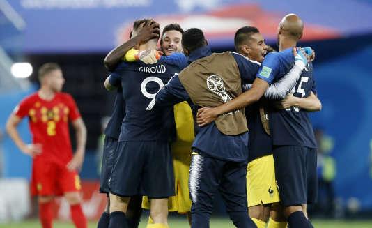 Après la victoire en demi-finale face à la Belgique, le 10 juillet, à Saint-Pétersbourg.