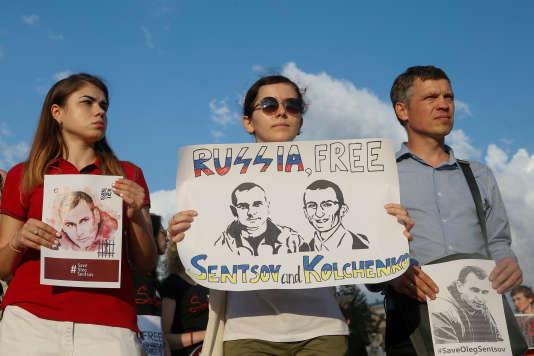 Manifestation en soutien à Oleg Sentsov, le13 juillet à Kiev (Ukraine).