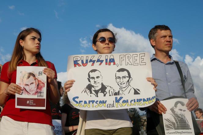 Manifestation en soutien à Oleg Sentsov, le 13 juillet à Kiev en Ukraine.