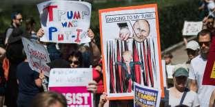 Manifestation à Helsinki, le 15 juillet, avant le sommet Trump-Poutine.