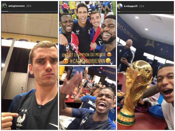 Captures d'écrandes« stories»Instagram d'Antoine Griezmann, Samuel Umtiti, Paul Pogba et Kylian Mbappé.