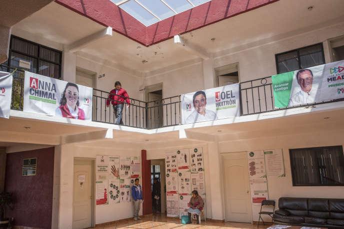 Les locaux du Parti révolutionnaire institutionnel (PRI), à Atlacomulco, le 4 juillet.