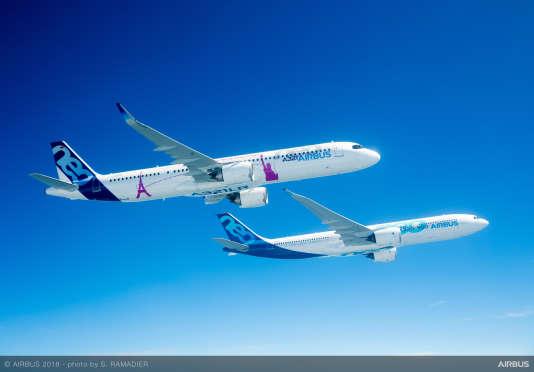 L'A321LR d'Airbus, son nouveau best-seller, a déjà enregistré120 commandes, lors du Salon de Farnborough