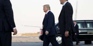 Le président américain Donald Trump arrive à l'aéroport d'Helsinki (Finlande), pour rencontrer Vladimir Poutine, le 15 juillet.