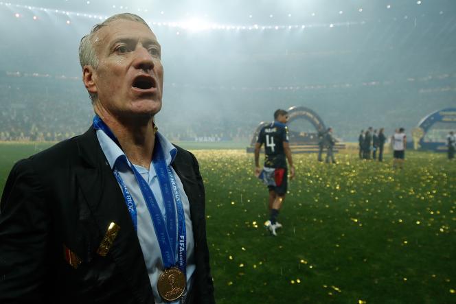 Didier Deschamps sonné après la victoire des Bleus, à Moscou le 15 juillet.