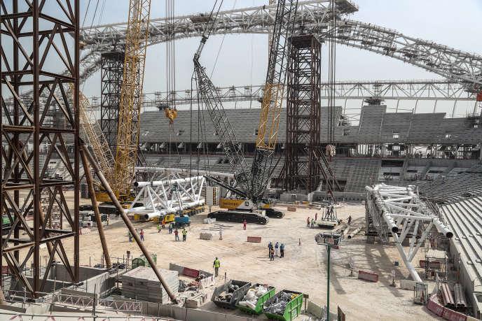 Le chantier du stade Al-Wakrah, à 15 kilomètres de Doha, en février 2018