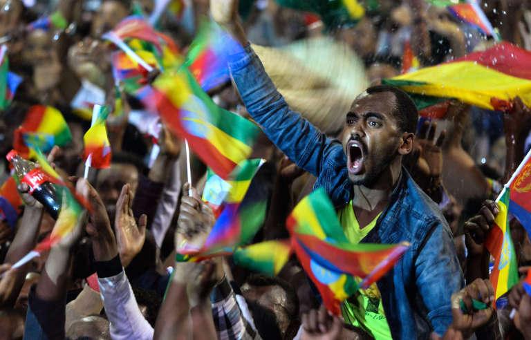 Ils étaient plusieurs milliers à Addis-Abeba pour accueillir le président érythrée, Isaias Afwerki, venu sceller la réconciliation avec son voisin éthiopien le 15 juillet 2018.