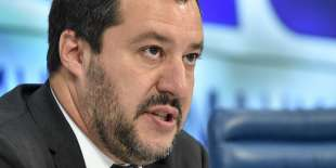 Italy's Interior Minister and deputy Prime Minister Matteo Salvini holds a press conference in Moscow on July 16, 2018. / AFP / Vasily MAXIMOV