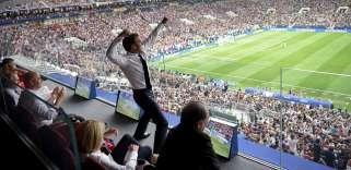 Emmanuel Macron au stade Loujniki, à Moscou, dimanche 15 juillet.