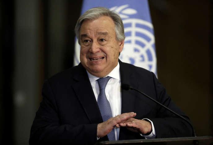 Le secrétaire général de l'ONU, Antonio Guterres, lors d'un déplacement à San José, la capitale du Costa Rica, le 16 juillet.