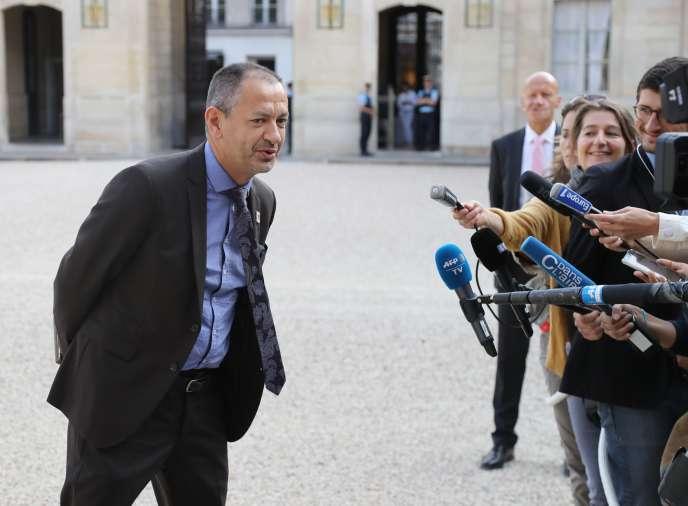 Pascal Pavageau, secrétaire général de Force ouvrière (FO), à son arrivée à l'Elysée le17 juillet.