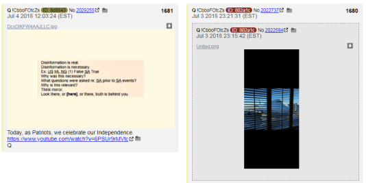 Des messages attribués à«Q » et publiés sur 4Chan.