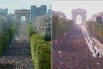 A gauche, la foule sur les Champs-Elysées lors du passage des Bleus, le 13juillet1998. A droite, la même scène vingt ans plus tard, le 16juillet2018.