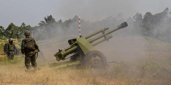 Des soldats de l'armée congolaise lors de l'opération Sokoda 1 contre les rebelles de l'ADF, dans le Nord-Kivu, le 13 janvier 2018.