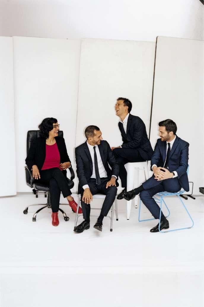 Myriam ElKhomri, Pierre-Olivier Costa, Gaspard Gantzer et Tristan Bromet, le 12juin, à Paris.