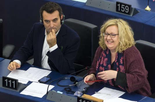 Florian Philippot et Sophie Montel, au Parlement européen, à Strasbourg, en octobre 2017.