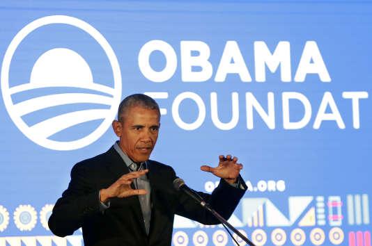 L'ex-président des Etats-Unis Barack Obama à l'African Leadership Academy, à Johannesbourg, le 17 juillet.