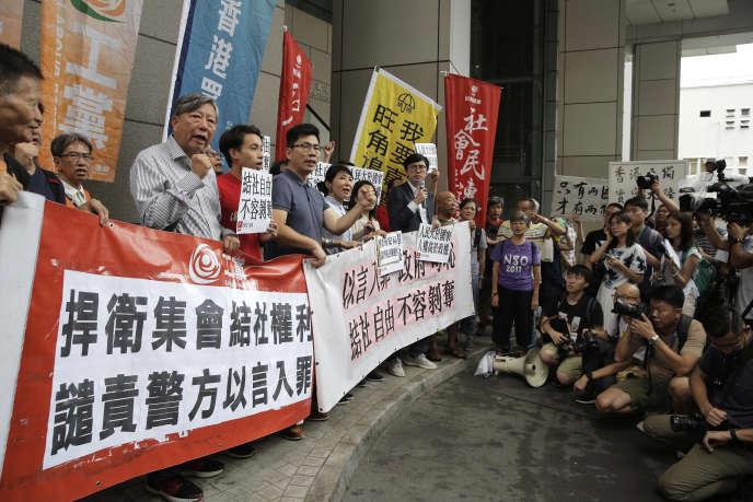 Lors d'une manifestation contre le projet d'interdiction du Parti national, à Hong Kong, le 18 juillet.