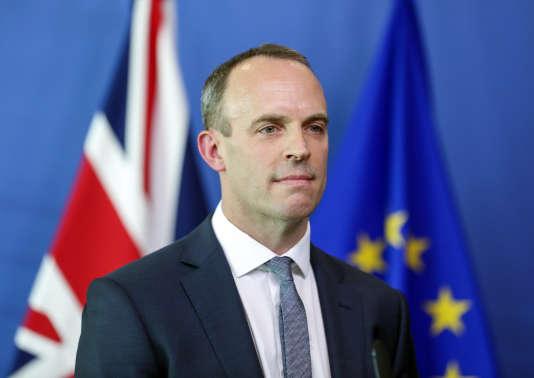 Le ministre du Brexit, Dominic Raab, au cours de sa conférence de presse avec Michel Barnier, le 19 juillet à Bruxelles.