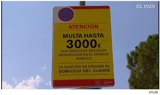 A Gavà, un panneau mentionnant le montant de l'amende et son envoi au domicile du client.