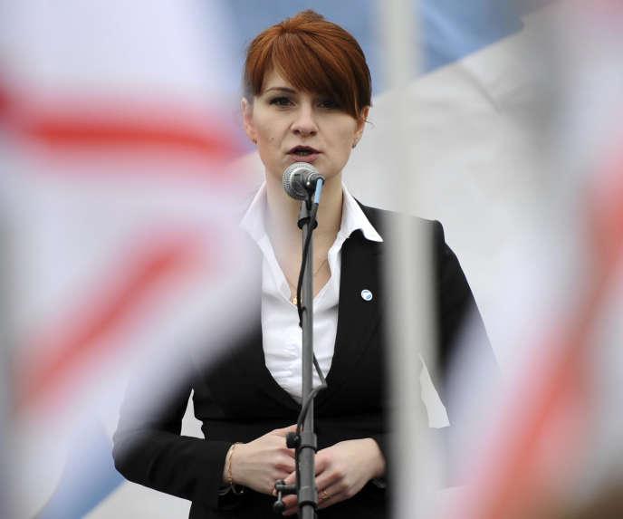 Maria Butina lors d'un événement organisé pour promouvoir la légalisation du port d'armes, à Moscou (Russie), en 2013.