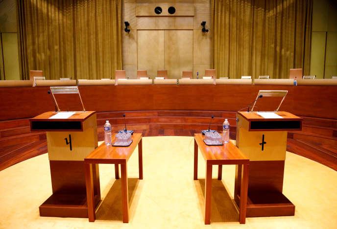 Salle d'audience de la Cour de justice de l'Union européenne, à Luxembourg, en 2017.