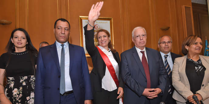 La maire de Tunis Souad Abderrahim, du parti Ennahda, après sa victiore aux municipales dans la capitale tunisienne le 3 juillet 2018.