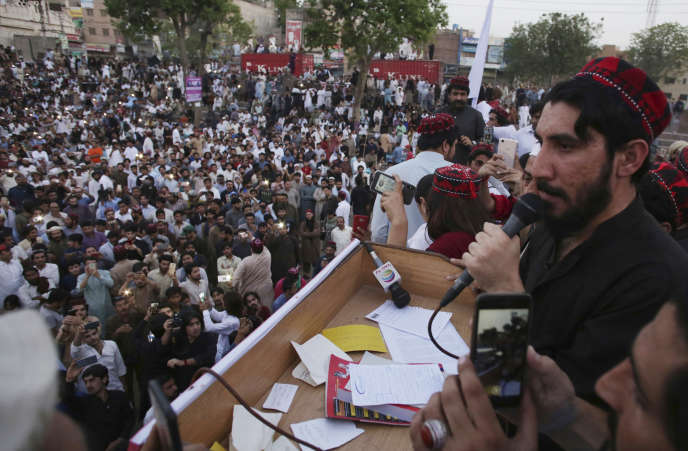 Manzoor Pashteen, chef de file du Mouvement de protection des Pachtouns, à Lahore, au Pakistan, le 22 avril.