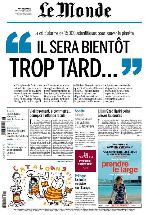 « Le Monde» daté du 14 novembre 2017.