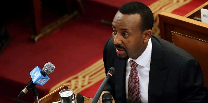 Le premier ministre éthiopien Abiy Ahmed devant les parlementaires à Addis-Abeba, en avril 2018.