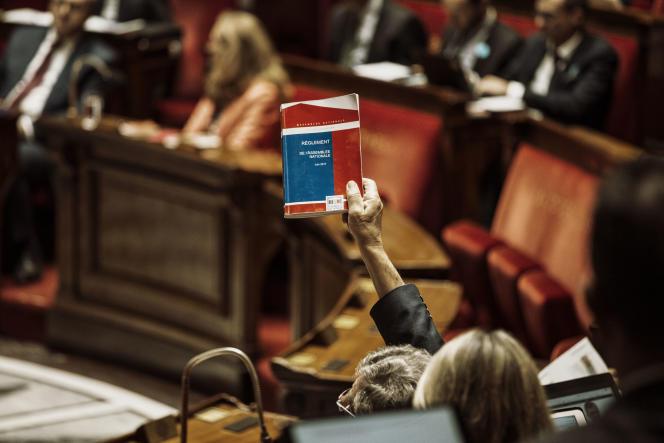 Un député brandit le règlement de l'Assemblée nationale pendant une séance consacrée à la révision constitutionnelle, le 20 juillet.