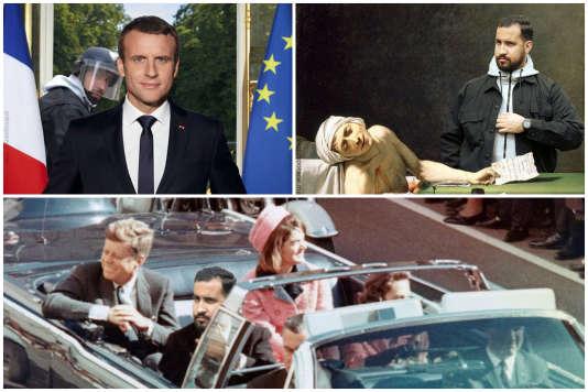 Montage de différents détournements parodiques d'Alexandre Benalla.
