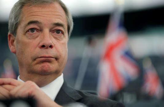 Nigel Farage, membre du Parlement européen et militant du Brexit, au Parlement européen, à Strasbourg, le 13mars.