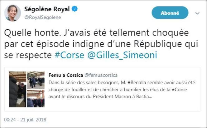 Capture écran du message publié sur Twitter par Ségolène Royal.