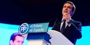 Pablo Casado prend la parole, après son élection à la présidence du Parti populaire espagnol, à Madrid, le 21 juillet.