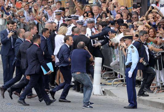 Emmanuel Macron sur les Champs-Elysées, le 14 juillet.