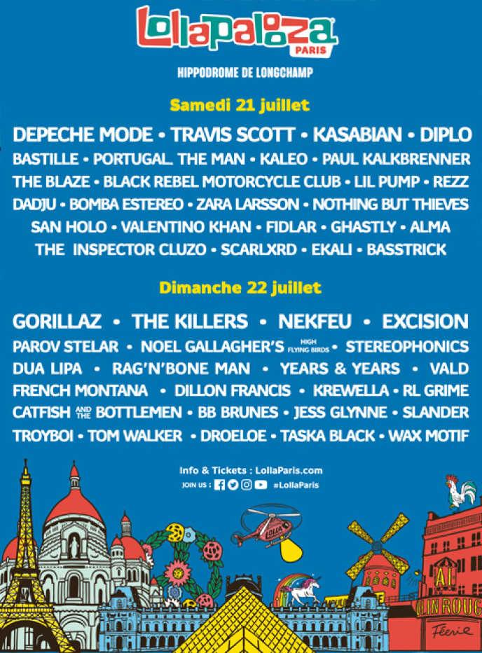 Affiche du festival Lollapalooza-Paris 2018.