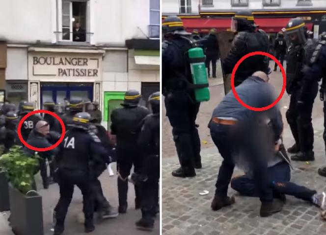Capture écran de la vidéo prise place de la Contrescarpe, en marge de la manifestation du 1er-Mai à Paris.