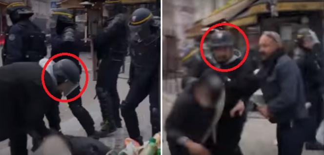 Sur cette capture d'écran de la vidéo prise le 1ermai, le visage casqué de M. Benalla.