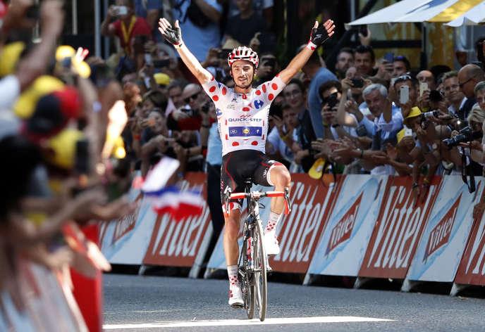 Julian Alaphilippe, à l'arrivée de la 16e étape, le 24 juillet àBagnères-de-Luchon.