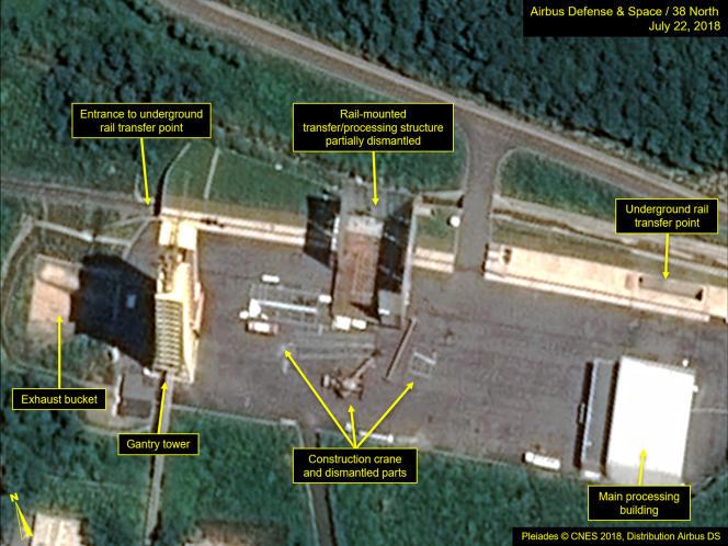 Vue satellite des installations démantelées de Sohae, en Corée du Nord, le 23 juillet.