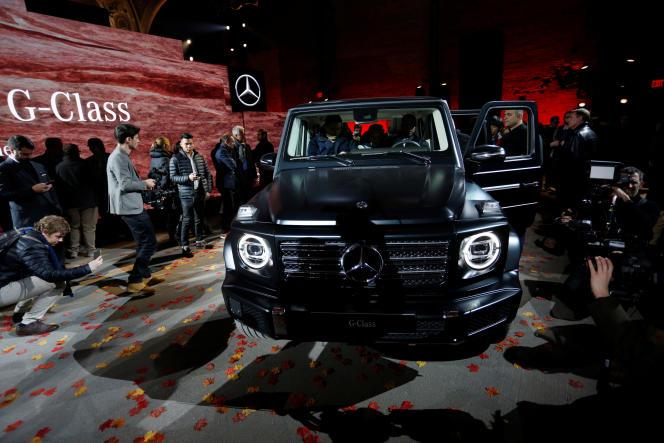 Le stand Mercedes au salon automobile de Detroit, en janvier. Les Etats-Unis pourraient taxer les importations automobiles de 20 % à 25%.