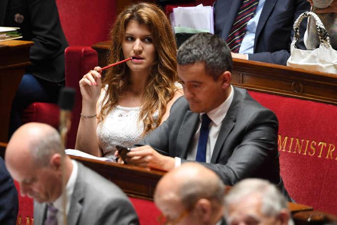 La secrétaire d'Etat chargée de l'égalité entre les femmes et les hommes, Marlène Schiappa, à l'Assemblée nationale à Paris, le 12 juin.