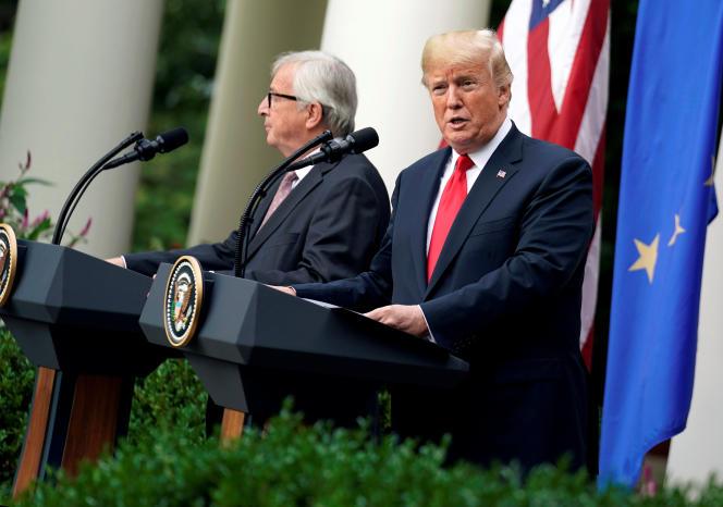 Jean-Claude Juncker et Donald Trump, à la Maison Blanche, à Washington, le 25 juillet.