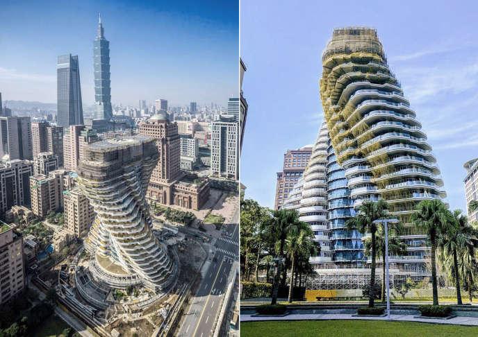 Tour écologique Tao Zhu Yin Yuan 2, Taipei, Taiwan, par l'architecte Vincent Callebaut.