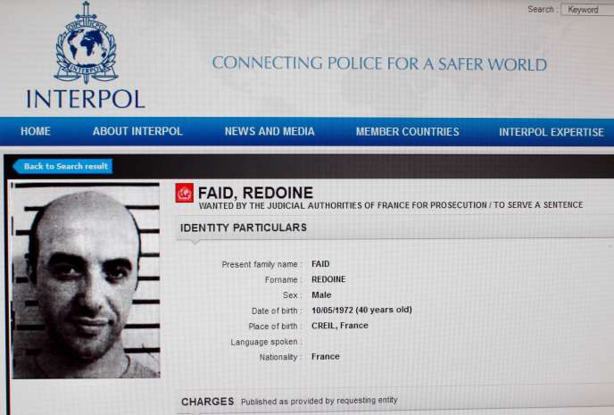L'avis de recherche international de Redoine Faïd sur le site Internet d'Interpol, en avril 2013.