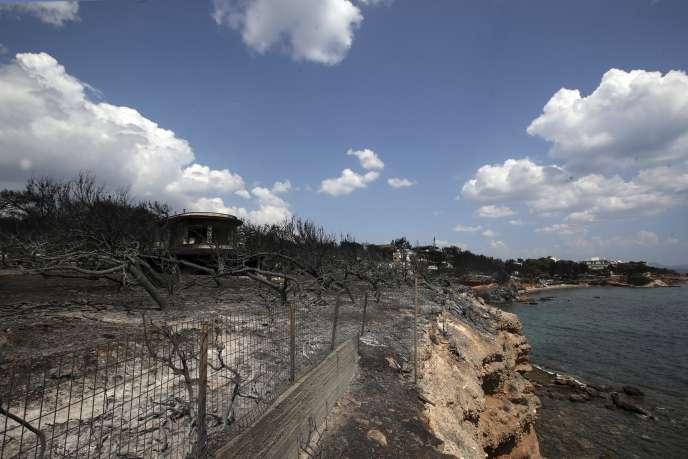 A Mati, ravagée par les flammes, à l'est d'Athènes, mercredi25juillet.