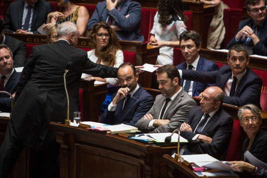 Edouard Philippe, Christophe Castaner et Gérard Collomb àl'Assemblée nationale àParis, le 24 juillet.